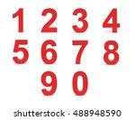 red numbers set. 3d render | Shutterstock . vector #488948590