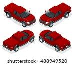 isometric pickup truck... | Shutterstock .eps vector #488949520