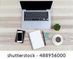 modern working place on wooden... | Shutterstock . vector #488956000