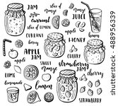 hand drawn doodle fruits and... | Shutterstock .eps vector #488956339