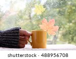 cup of warming beverage against ... | Shutterstock . vector #488956708