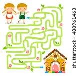 maze game. hansel and gretel... | Shutterstock .eps vector #488961463
