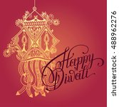 happy diwali greeting card with ... | Shutterstock . vector #488962276