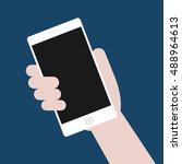 hand holding smart phone on red ... | Shutterstock .eps vector #488964613