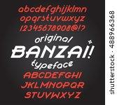 custom font. alphabet italic... | Shutterstock .eps vector #488966368