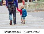 father walking little daughter... | Shutterstock . vector #488966950