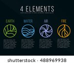nature 4 elements in circle... | Shutterstock .eps vector #488969938