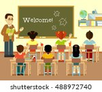 different multicultural school... | Shutterstock .eps vector #488972740