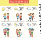 flat weather widgets set with...