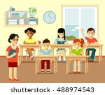 different school children at... | Shutterstock .eps vector #488974543