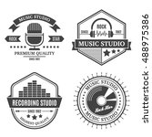 vintage music recording ... | Shutterstock .eps vector #488975386
