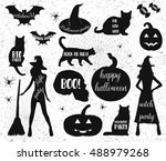 halloween silhouettes. witch ... | Shutterstock .eps vector #488979268