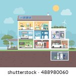 house cross section with room... | Shutterstock .eps vector #488980060