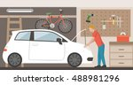 home garage with car  bike and... | Shutterstock .eps vector #488981296