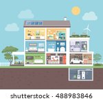 modern house cross section with ... | Shutterstock .eps vector #488983846