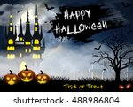 spooky card for halloween. blue ... | Shutterstock .eps vector #488986804