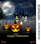 spooky card for halloween. blue ... | Shutterstock .eps vector #488986828