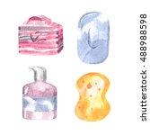 watercolor hygiene set | Shutterstock . vector #488988598
