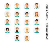 human avatar set in modern flat ... | Shutterstock . vector #488995480