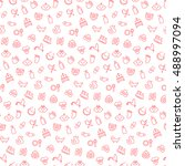 seamless pattern with icons of...   Shutterstock .eps vector #488997094