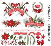 merry christmas new year decor... | Shutterstock . vector #488998360