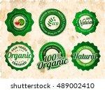 vintage stickers set  100 ... | Shutterstock .eps vector #489002410