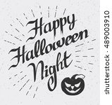 happy halloween night  card... | Shutterstock .eps vector #489003910