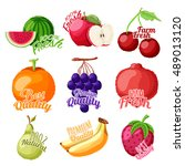 set of fresh fruits as... | Shutterstock .eps vector #489013120