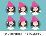 young girl wearing pink beanie... | Shutterstock .eps vector #489016960