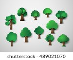 tree design elements.paper art... | Shutterstock .eps vector #489021070