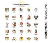 set of modern flat line icon... | Shutterstock .eps vector #489023890