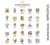 set of modern flat line icon... | Shutterstock .eps vector #489023923