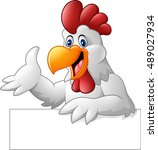 cartoon rooster holding blank... | Shutterstock .eps vector #489027934