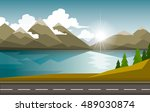 the autumn landscape of forests ... | Shutterstock .eps vector #489030874