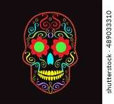 skull vector background for... | Shutterstock .eps vector #489033310