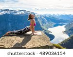young woman doing yoga on... | Shutterstock . vector #489036154
