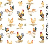 Watercolor Pattern Chickens An...