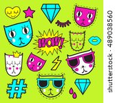 vector background with stickers ... | Shutterstock .eps vector #489038560