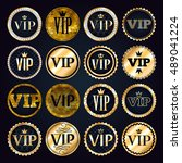 vip premium golden badges set.... | Shutterstock .eps vector #489041224