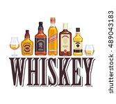 whisky bottles and glasses.... | Shutterstock .eps vector #489043183