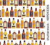whisky bottles seamless pattern ... | Shutterstock .eps vector #489043306