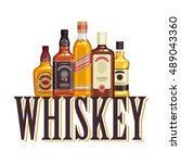 whisky bottles and glasses....   Shutterstock .eps vector #489043360