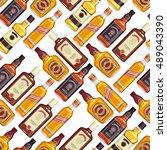 whisky bottles seamless pattern ... | Shutterstock .eps vector #489043390