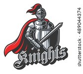 color knight sport logo on... | Shutterstock .eps vector #489044374