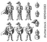 set of monochrome knights in... | Shutterstock .eps vector #489044383