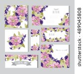 elegant cards with decorative... | Shutterstock .eps vector #489045808