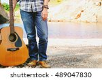 man and guitar outdoor relax... | Shutterstock . vector #489047830