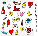 fashion patches set   iconic... | Shutterstock .eps vector #489050338