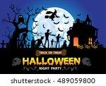 happy halloween night party... | Shutterstock .eps vector #489059800