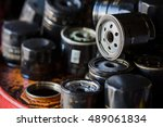 picture of old car oil filters... | Shutterstock . vector #489061834
